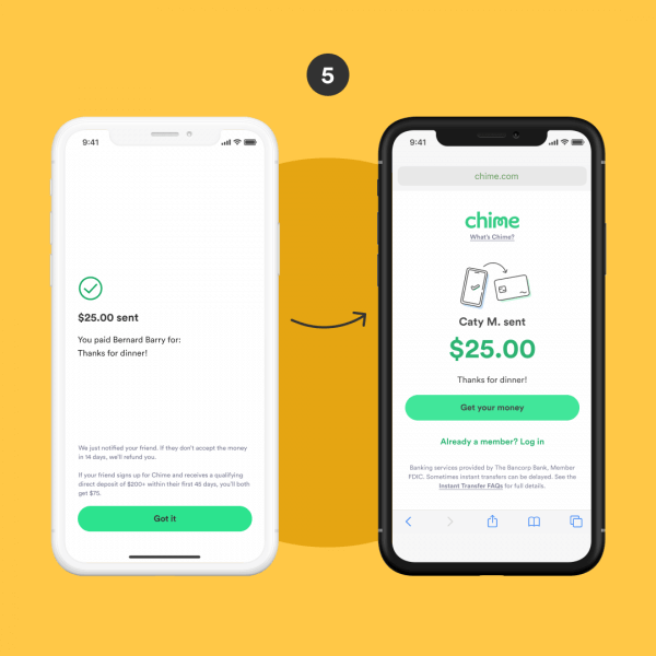 how to use chime payfriends step five