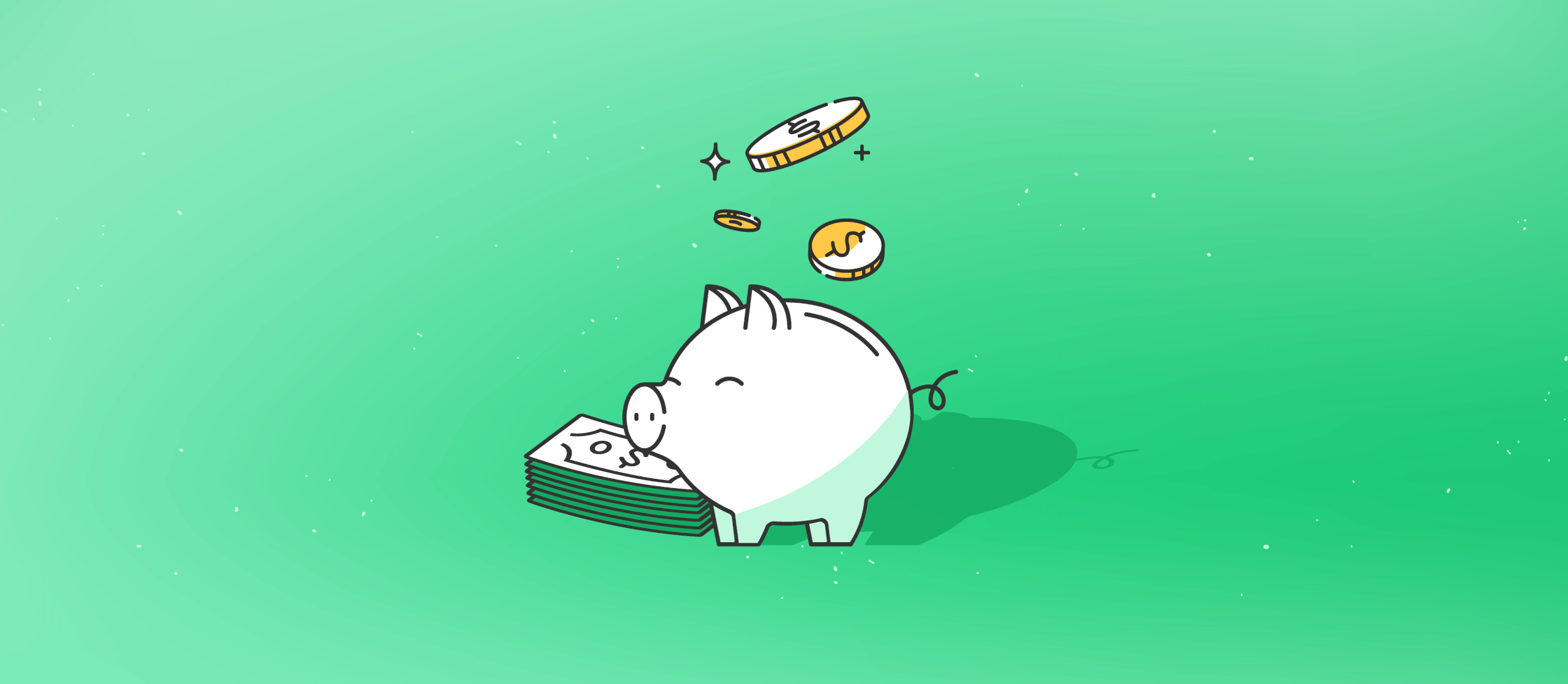 saving money in a piggy bank illustration