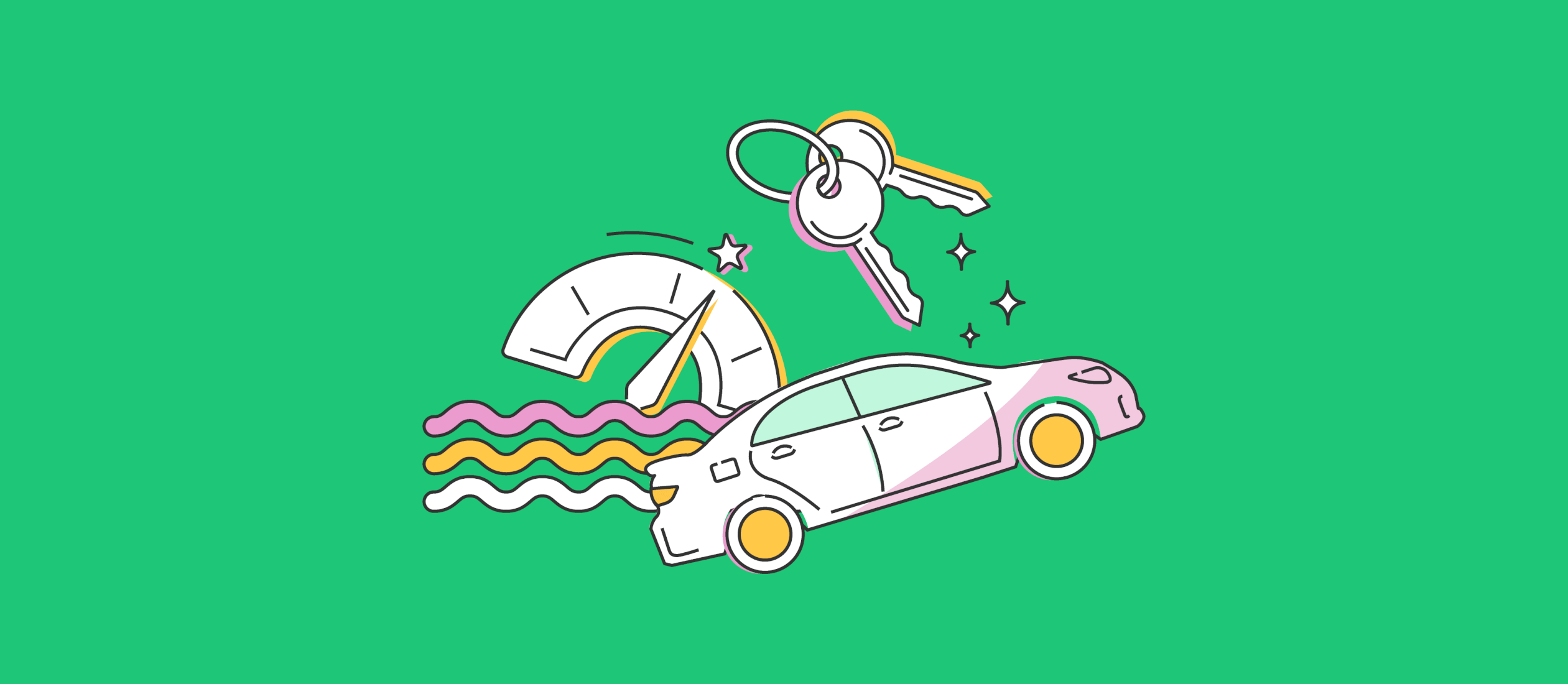 cute illustration of car, car keys and speedometer