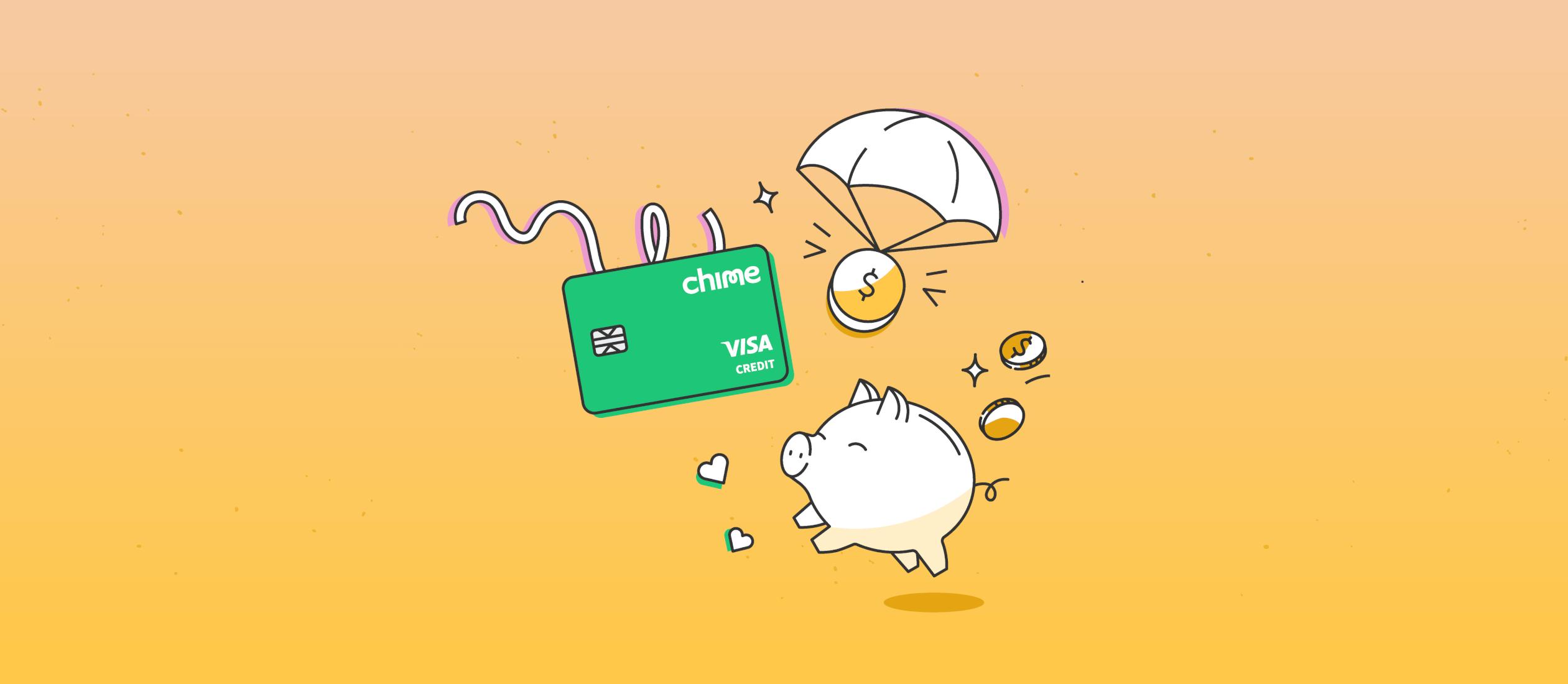 illustration of chime credit builder card, spotme logo and piggy bank