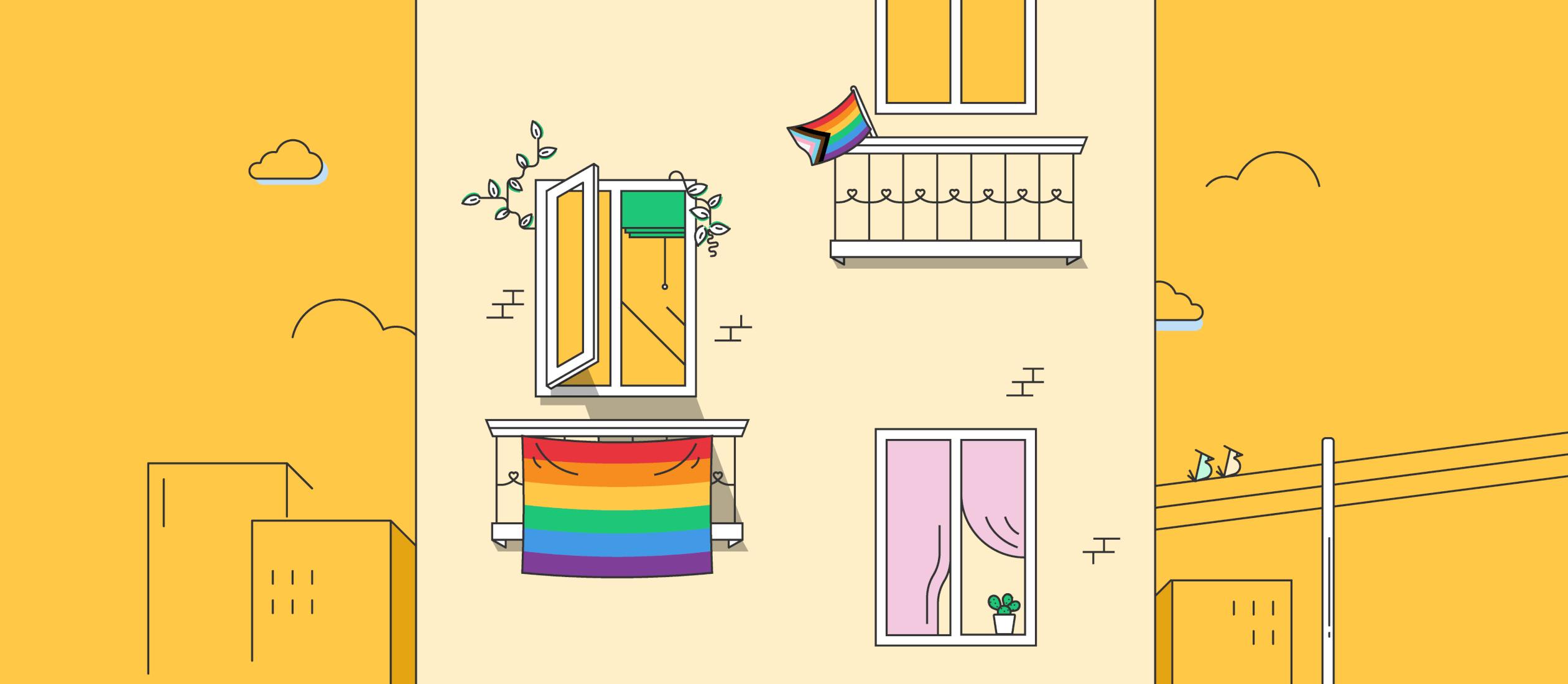 illustrated window displaying pride flag