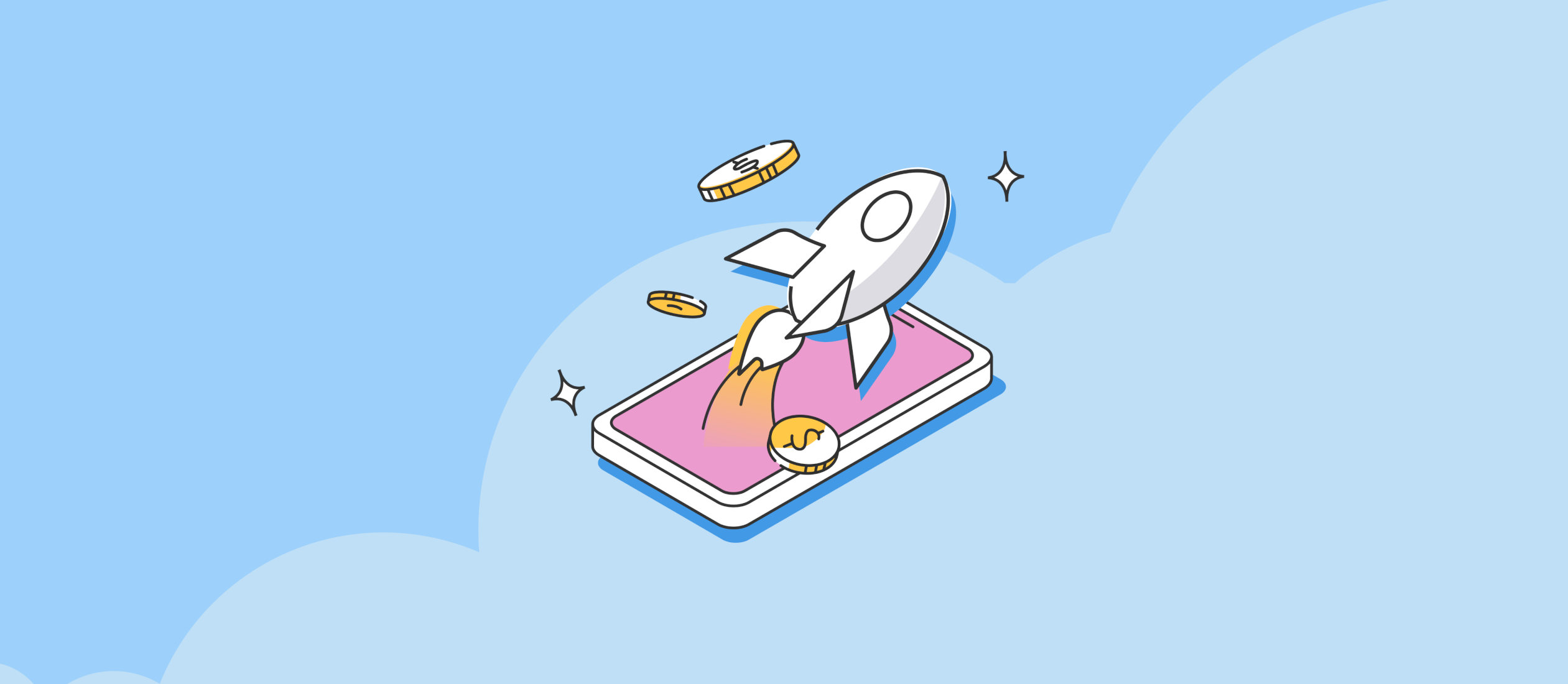 illustration representing SpotMe Boosts, rocket ship coming out of phone
