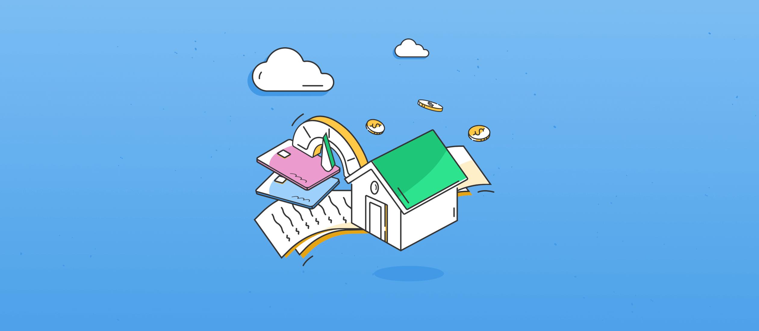 illustration of a house credit score credit builder card