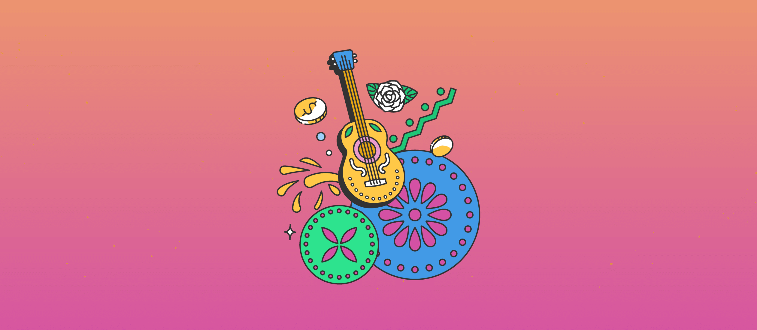 Illustration of guitar, gold coin, latin heritage month tribute